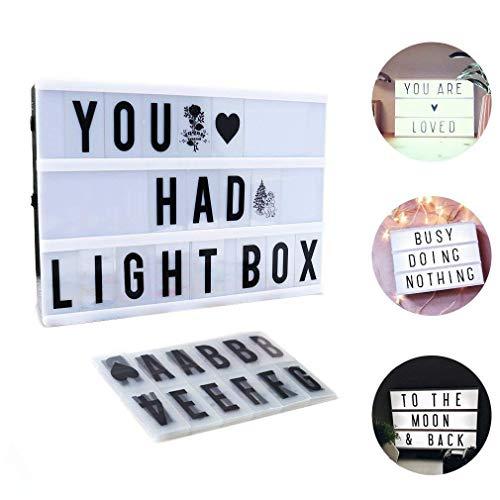 Lichte Box, CrazyFire LED Lichtkasten A4, Boxen Beleuchtung,Gestaltbare Leuchtende Kinotafel Filmischen Licht-Box mit 104 Buchstaben und 85 bunten Symbole -