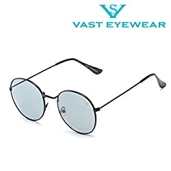 Vast All Day Wear See Through Metal Round Unisex Sunglasses (3447_C16_BLACK_LIGHT_GREY)