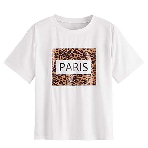Moda para Mujer Camiseta de Manga Corta Top Leopard Paris...