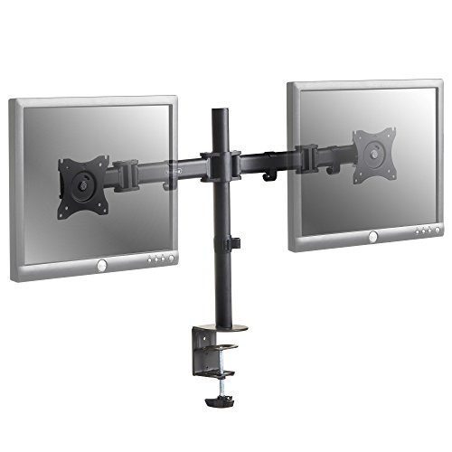 VonHaus two Monitor display screen Desk Mount supply ambigu VESA Bracket for Twin 13 to 27 Computer Displays or TVs Max 100x100 Tilt Rotate Swivel Functions Monitor Arms Stands