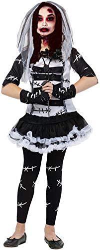 Forever Young UK 4 Stück Mädchen Tote Braut von Frankenstein + Strumpfhose Halloween Book Day Kostüm Outfit (Alter - Eine Tote Braut Kostüm