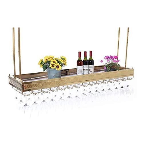 BinLZ an Der Wand Befestigter Edelstahl-Weinhalter/Weinglasgestell Weinkorken-Speicher-Industrieller Wein-Champagne-Glasbecher-Stemware-Gestell-Halter, Titan Gold -