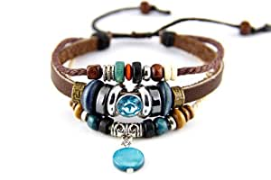 Agathe Creation - Bracelet tibetain porte bonheur - strass bleu - pendentif en nacre bleu - Cuir, Chanvre et perles de bois et métal - Multicolor - Fait main