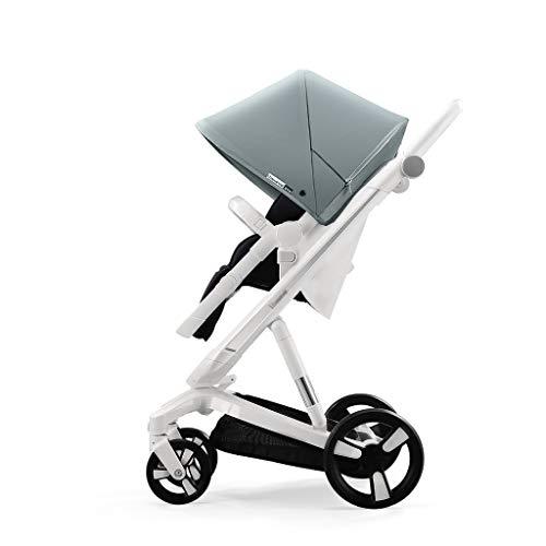 Home Vierfach-haken (Baby stroller Facing Sun Faltbarer, Leichter Kinderwagen, intelligentes Bremssystem 39,4-Zoll-Zwei-Wege-Schwammfederung, übergroßes Schiebedach, sommerblau)