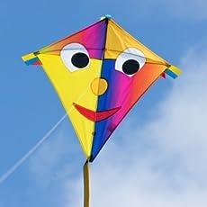 CIM Kinderdrachen - Happy Eddy Joker - Einleiner für Kinder ab 3 Jahren - Abmessung: 67x70cm - inkl. 80m Drachenschnur und Schleifenschwanz