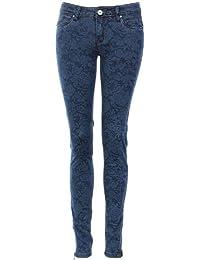 Jean skinny bleu à fleurs