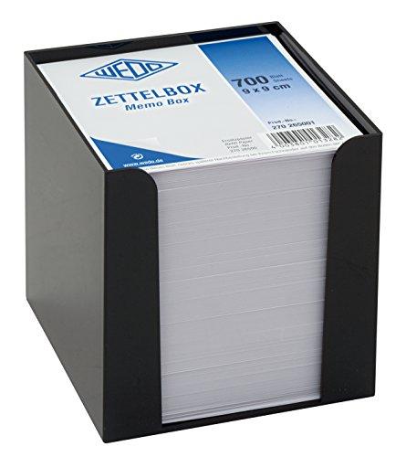 Wedo 270265001 Zettelbox Kunststoffbox (gefüllt, 9 x 9 cm, circa 700 Blatt) schwarz