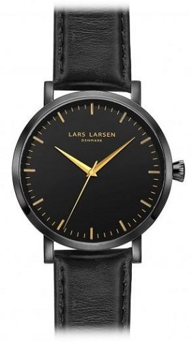 Lars Larsen Men's Quartz Watch with Black Dial Analogue Display and Black Leather Strap 143CBBLL