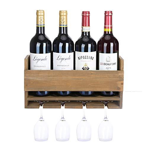 Halcent Weinregal Wand Weinflaschenhalter Flaschenregal Holz Weinständer mit Glashalter