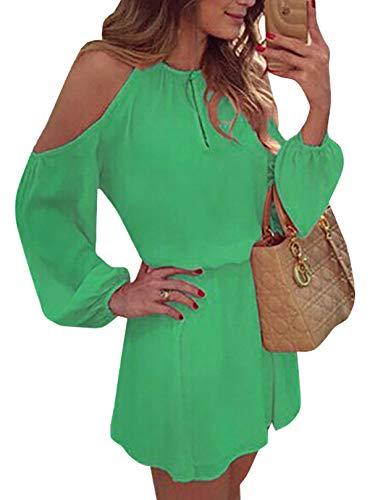 YOINS Sommerkleid Damen Kurz Schulterfrei Kleid Elegante Kleider für Damen Strandmode Langarm Neckholder A Linie Grün EU32-34(Kleiner als Reguläre Größe)
