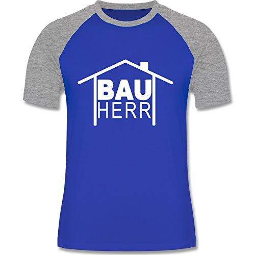 Sprüche - Bauherr Heimwerker - zweifarbiges Baseballshirt für Männer Royalblau/Grau meliert