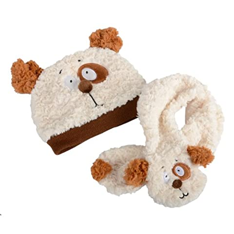 Kids Young Childrens Animal Dog Puppy Hat & Matching Scarf Set Winter Extra Soft