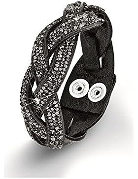 s.Oliver Damen-Armband Messing Leder Glas schwarz 50799