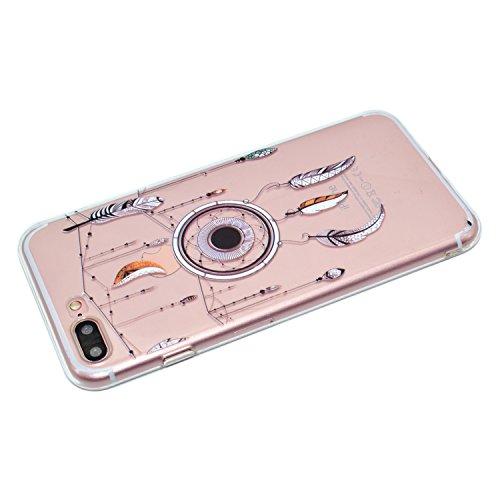 KaseHom iPhone 7 Plus 5.5 Pollice Gel di Silicone Trasparente TPU Custodia Antiscivolo Morbido Paraurti in Gomma Durevole UnicoColorato ModelloProgettare (ConGratuitoProteggi Schermo) Chiaro Ultra Cacciatore di sogni Piuma
