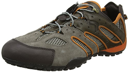 Geox Herren Uomo Snake J Sneaker, Grau (Taupe/Lt Orange), 43 EU Taupe Patent Schuhe