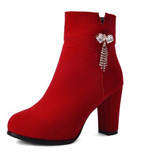 AgooLar Damen Niedrig-Spitze Rein Reißverschluss Hoher Absatz Stiefel mit Beschlagene Strass Rot