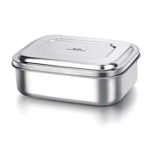 G.a HOMEFAVOR 1000ml Vesperdose Lunch Box Rostfreies Edelstahl Bento Brotdose mit 3 Fächern, Mittel, 17 * 13 * 6.2 cm