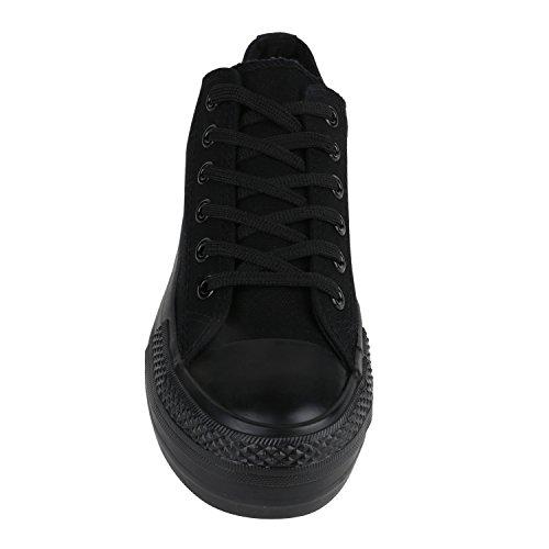 Damen Sneakers Low Plateau Textil Schuhe 90's Schnürer Schwarz Schwarz