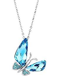 NEOGLORY Collar Mariposa con GENUINO CRISTAL SWAROVSKI AZUL Joya Original Mujer