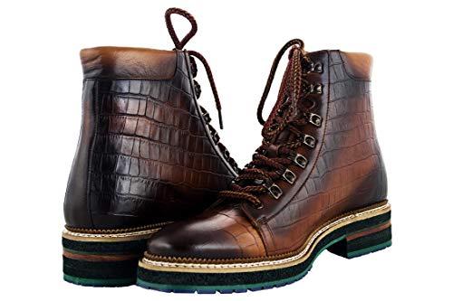 ZERIMAR Botas con Alzas Interiores para Caballeros Aumento 7 cm   Zapatos de Hombre con Alzas Que Aumentan su Altura   Botas Trekking Hombre Color Cuero Talla 43