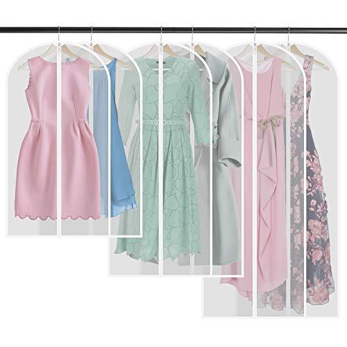 COMLIFE 6 TLG Kleidersack inkl.(2x140*60cm, 2x120*60cm, 2x100*60cm) KleidersäckemitReißverschluss, Wasserdichte Staubdichte Kleiderhüllen TransluzenteSchutzhüllenfür Anzug,Abendkleid, usw