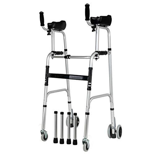 Rollatoren Walker Standard Walker Faltbarer Walker Verstellbarer Gehhilfe Ausrüstung Räder mit Armlehnen Pads 360 Grad Drehbarer Walker Geeignet für Senioren und Menschen mit reduzierter Handhabung zu