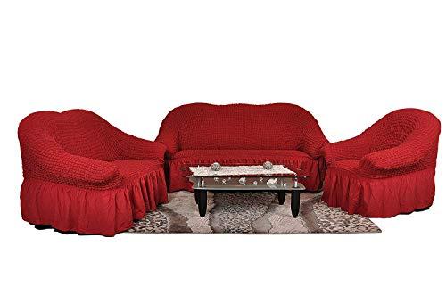 My Palace Stretch Sofabezüge 1er+2er+3er in weinrot rot (Stretchhusse, Sofa-Husse, Sofabezug) / Sofabezug IKEA/sofabezuege 3 2 1 / sofabezug groß/Garnituren Cover