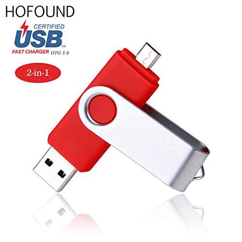 32gb otg (on the go) usb 3.0memory stick tappo girevole in metallo per android e smart phone doppia porta usb e micro usb rosso red 32 gb