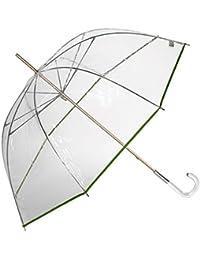 EZPELETA Paraguas Transparente Largo de Mujer con Forma de cúpula. Antiviento y Manual.