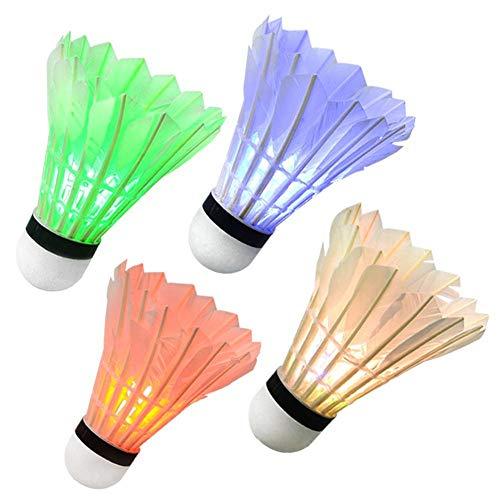 LED-Badminton-Federbälle, 4 STK. Badminton-Birdies im Dunkeln leuchten Beleuchten von Birdies für Indoor-Outdoor-Sportarten