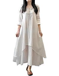 Mujer Casual Suelto Manga larga Lino Vestir, WINWINTOM Boho Largo Fiesta Maxi Vestido