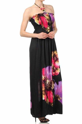 Sakkas Robe longue à corset - thème fleural perlé sur noir ( 2 Couleurs ) Violet