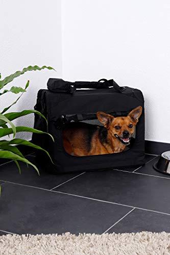 dibea TB10021 Hundetransportbox Hundetasche faltbare Autobox Kleintiertasche (Größe und Farbe wählbar), schwarz