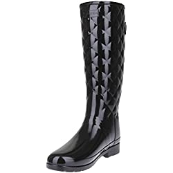 Hunter Woman Original Refined Gloss Quilt Tall Black WFT1031RGL BLK, botas de agua color negro, 40