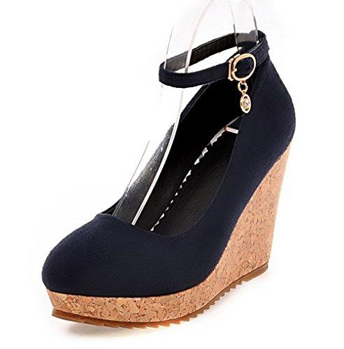 VogueZone009 Damen Schnalle Hoher Absatz Nubukleder Rein Rund Zehe Pumps Schuhe Blau
