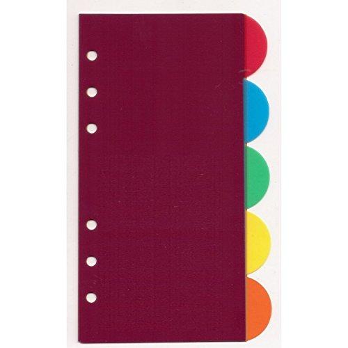 Ricambio divisori colorati in ppl 9,5x17 TONDI per agende organizer (5 fogli)