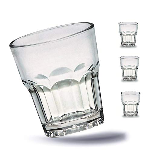 Kerafactum 4 x Bruchfeste Gläser Becher langlebige Wassergläser aus stabilem Kunststoff Saft Whisky Glas Partybecher Whiskybecher Trinkbecher in echter Glasoptik - stapelbar