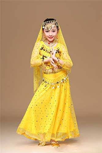 Kostüm Girl Bollywood - BT-GIRL Indische Kleidung Bollywood Orient Kleid Halloween Karneval Kostüme,Yellow,M