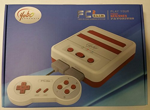 Yobo FC 2Slim Game Top Loader Konsole System für NES & SNES & Super Famicom Spiele (Rot Weiß)