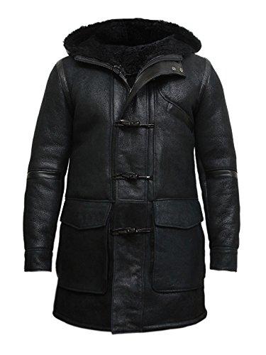 Brandslock Vintage Herren Kapuzen-Luxus Schaffell Erbsen Mantel Deutsche Marine Lange Duffle Mantel Ideal für Winter Neueste Design (X-Large, schwarz) (Erbse Mäntel Herren)