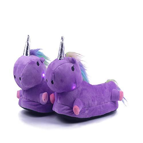 Lovelysi peluche ciabatte 3d led mantieni caldo pantofole scarpa unicorno adulto bambino bambina donna ciabatte invernali stivali cartoni animale slippers