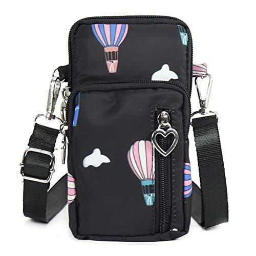 Sport Oxford Tuch Leichte Mini Crossbody Beutel Frauen Handy Tasche Arm Pack l Schwarzer Ballon ()