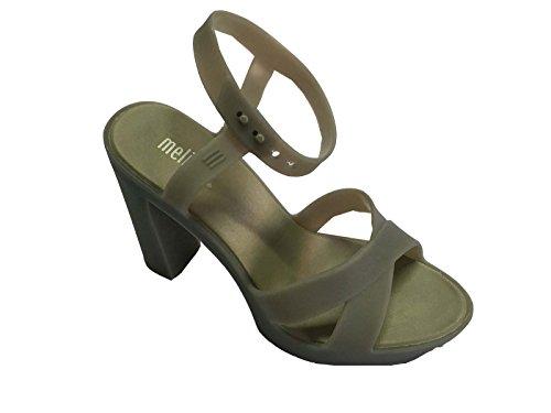MELISSA sandalo donna con tacco cm 10 plateau cm 2 grigio 100% caucciù MADE IN BRASILE (39)