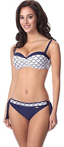aQuarilla Damen Bikini Set AQ120(Navyblau/Weiß, 40) (Boxer Holiday Shorts)