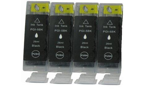 Hohe Kapazität, Dye (4 Canon PGI-5bk.*.*.*SCHWARZ.*.*.* Kompatibel Tinte für Canon Pixma MP810. ***Hohe Kapazität*.*.Dye-Tinte aus DEUTSCHLAND.*.*.neueste Version APEX-Chips.*.*.)