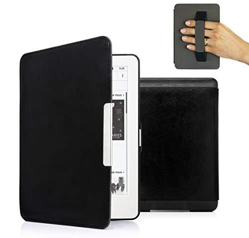 MyGadget PU Leder Hülle für Amazon Kindle Paperwhite (bis 2017) Handschlaufe & Auto Schlaf/Wach Funktion Magnetische Kunstleder Flip Case - Schwarz
