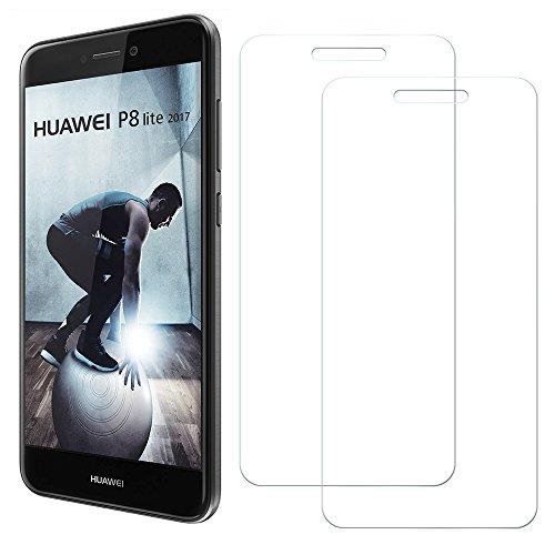 [2 Unidades] Protector de Pantalla Huawei P8 Lite 2017, Senisttech 9H Dureza Cristal Vidrio Templado Para Huawei P8 Lite 2017, 0.33mm Ultra Transparencia HD, 3D Touch Compatibles, Instalación Fácil