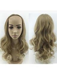 SONGYUNYAN Moda, medias pelucas, medias pelucas, peluca ondulada, shaggy, pelo medio, pelo ondulado, peluca de niña