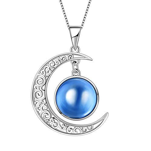 AuroraTears September Birthstone Halskette Erstellt-Saphir Crescent Moon Anhänger Geburtstag Schmuck Geschenke 17.7