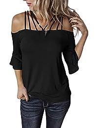Decai Verano Camisas de Hombro Frío Blusas Tops Chaleco de Manga Corta Túnica Tops Casual Camiseta de Tirantes para Mujer Señoras Blusa Sólida Correa Suelta Columpios